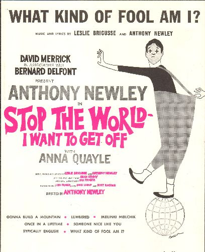 Newley, Anthony - What Kind Of Fool Am I - Vintage SHEET MUSIC for Anthony Newley's signature song from Broadway's -Stop The World - I Want To Get Off- - NM9/ - Sheet Music