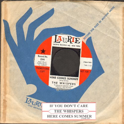 Whispers - Here Comes Summer/If You Don't Care (DJ avance pressing with juke box label and Laurie company sleeve) - NM9/ - 45 rpm Records