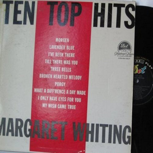 Whiting, Margaret - Ten Top Hits: Morgen, Lavender Blue, Three Bells, Broken Hearted Melody, Till There Was You (Vinyl MONO LP record, DJ advance copy) - EX8/VG7 - LP Records