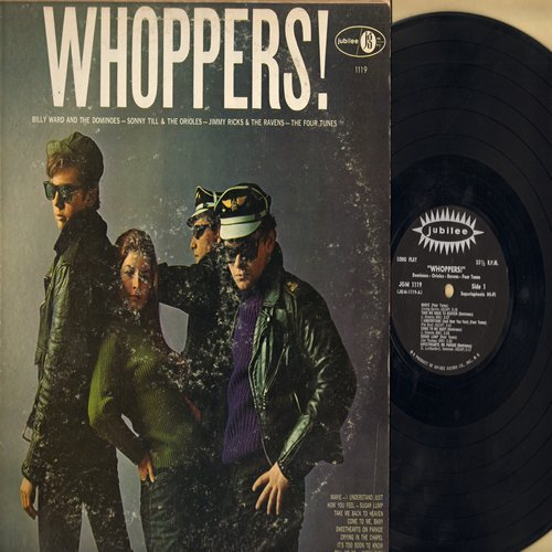 Dominoes, Orioles, Ravens, Jimmy Ricks, others - Whoppers!: Marie, Sugar Lump, Crying In The Chapel, Sweethearts On Parade, It's Too Soon To Know (Vinyl MONO LP record, black label first pressing) - EX8/VG7 - LP Records