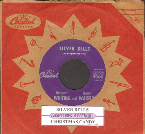 Whiting, Margaret & Jimmy Wakely - Christmas Candy/Silver Bells (purple label with juke box label Capitol company sleeve) - EX8/ - 45 rpm Records