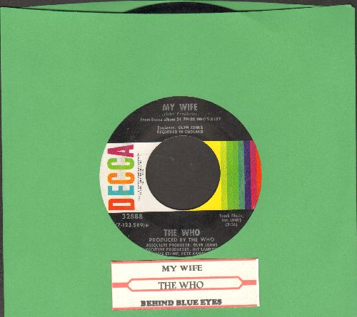 Who - My Wife/Behind Blue Eyes (with juke box label) - EX8/ - 45 rpm Records