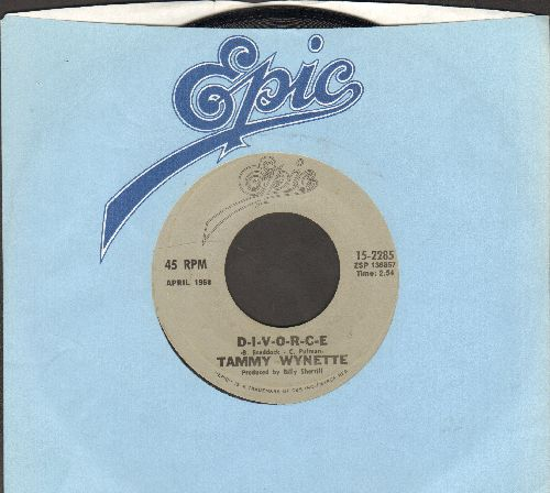 Wynette, Tammy - D-I-V-O-R-C-E/Singing My Song (double-hit re-issue with Epic company sleeve) - NM9/ - 45 rpm Records