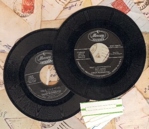 Washington, Dinah - 2 first issue 45s for the price of 1! - What A Difference A Day Makes/Cold Cold Heart - shipped in plain white paper sleeves with 3 blank juke box labels. - VG7/ - 45 rpm Records