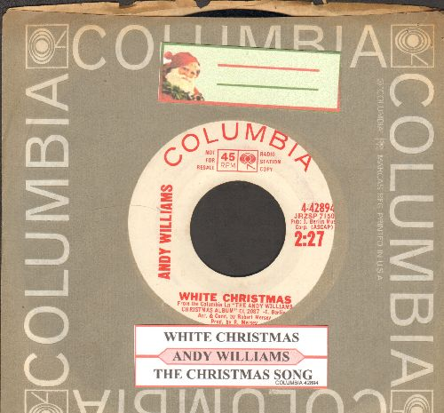 Williams, Andy - White Christmas/The Christmas Song (DJ advance pressing with juke box label and company sleeve) - EX8/ - 45 rpm Records