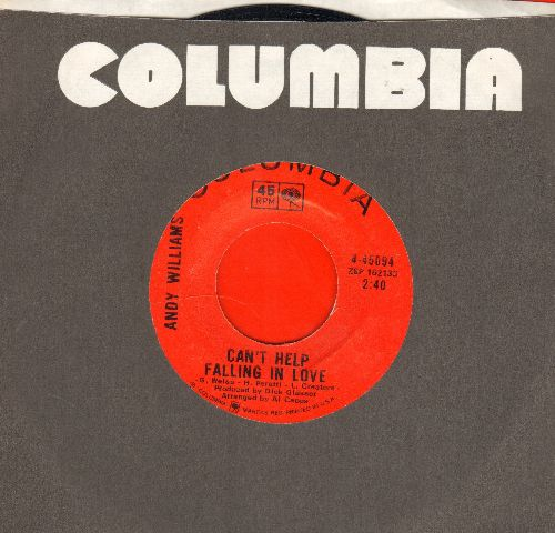 Williams, Andy - Can't Help Falling In Love/Sweet Memories (with Columbia company sleeve) - NM9/ - 45 rpm Records