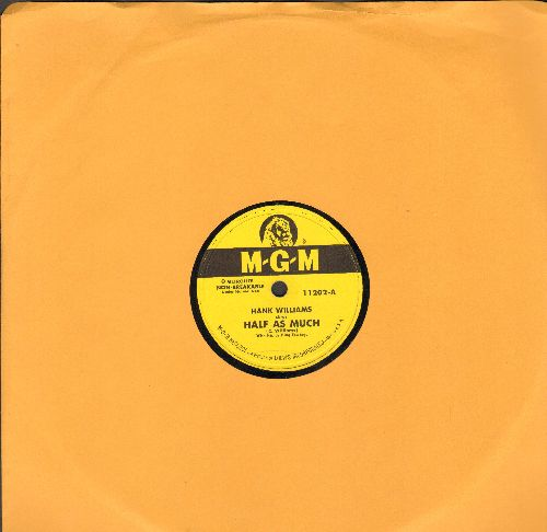 Williams, Hank - Half As Much/Let's Turn Back The Years (10 inch 78rpm record) - EX8/ - 78 rpm
