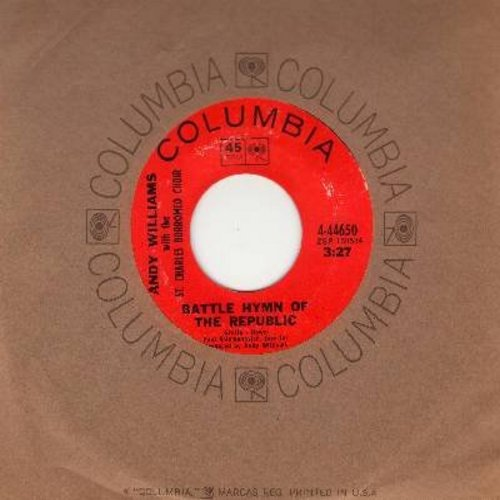 Williams, Andy & The St. Charles Borromeo Choir - Battle Hymn Of The Republic/Ave Maria (with Columbia company sleeve) - EX8/ - 45 rpm Records