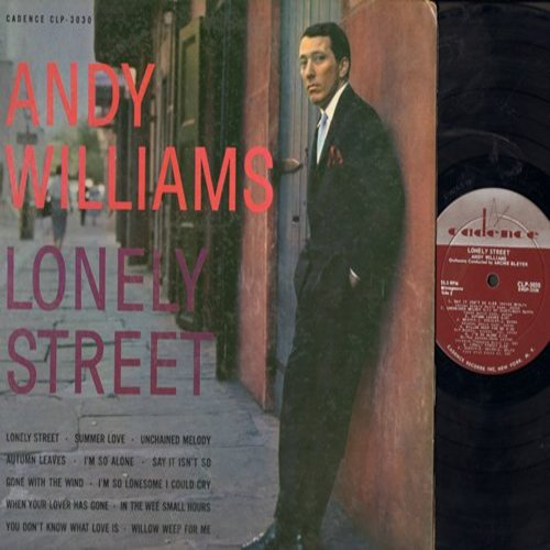 Williams, Andy - Lonely Street: Summer Love, Unchained Melody, Gone With The Wind (Vinyl MONO LP record) - EX8/VG7 - LP Records