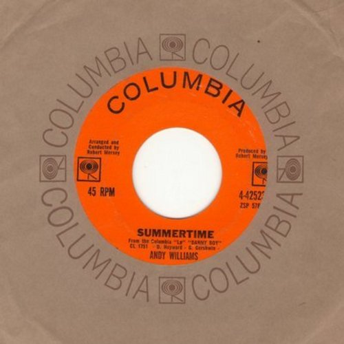 Williams, Andy - Summertime/Don't You Believe It (with Columbia company sleeve) - NM9/ - 45 rpm Records