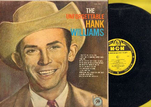 Williams, Hank - The Unforgettable Hank Williams: Dear John, I Can't Get You Off My Mind, Blue Love (In My Heart), Never Again (Will I Knock On Your Door) (vinyl MONO LP record, yellow label 1959 first pressing) - EX8/EX8 - LP Records