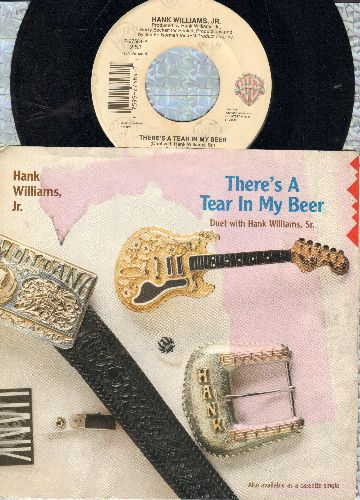 Williams, Hank Jr. - There's A Tear In My Bear/You Brought Me Down To Earth (with picture sleeve sleeve) - VG7/VG7 - 45 rpm Records