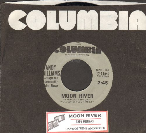 Williams, Andy - Moon River/Days Of Wine And Roses (double-hit re-issue with Columbia company sleeve and juke box label) - NM9/ - 45 rpm Records