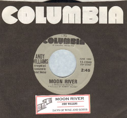 Williams, Andy - Moon River/Days Of Wine And Roses (double-hit re-issue with juke box label and company sleeve) - NM9/ - 45 rpm Records