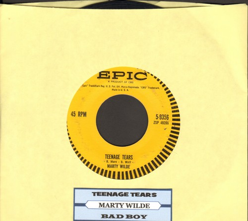 Wilde, Marty - Teenage Tears/Bad Boy (FANTASTIC Teen Idol two-sider with juke box label) - VG7/ - 45 rpm Records
