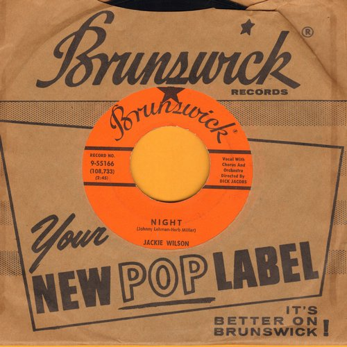 Wilson, Jackie - Doggin' Around/Night (with Brunswick company sleeve) - EX8/ - 45 rpm Records