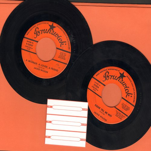 Wilson, Jackie - 2 for 1 Special: Please Tell Me Why/A Woman, A Lover, A Friend (2 vintage first issue 45rpm records with 3 blank juke box labels for the price of 1!) - VG7/ - 45 rpm Records