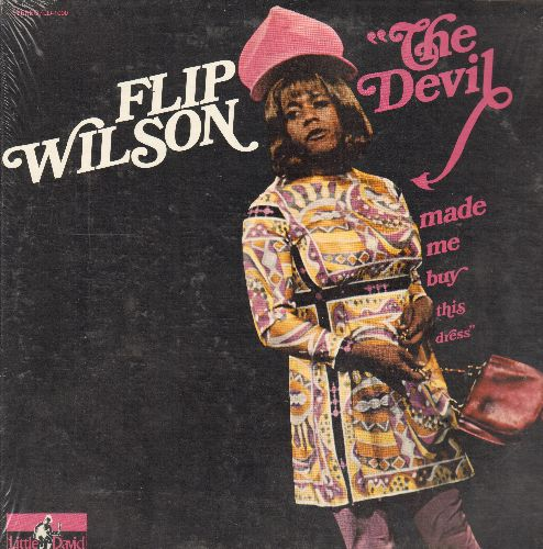 Wilson, Flip - The Devil Made Me Buy This Dress: Flip Wilson (and/or Geraldine Jones) deliver another hilarious set of comedy material. (Original first issue vinyl LP record with shrink wrap) - NM9/NM9 - LP Records