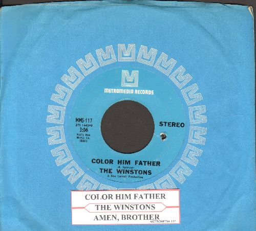 Winstons - Color Him Father/Amen, Brother (with juke box label and RARE Metromedia company sleeve) (bb) - NM9/ - 45 rpm Records
