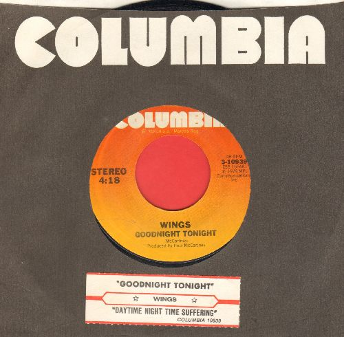 Wings - Goodnight Tonight (Don't Say It)/Daytime Nightime Suffering (with juke box label and Columbia company sleeve) - NM9/ - 45 rpm Records