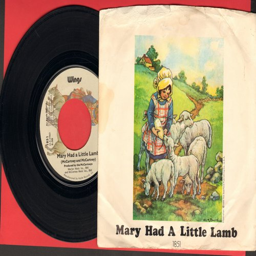 Wings - Mary Had A Little Lamb/Little Woman Love (with picture sleeve) - EX8/VG6 - 45 rpm Records