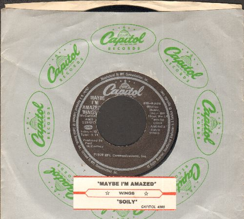 Wings - Maybe I'm Amazed/Soily (with juke box label and Capitol company sleeve) - EX8/ - 45 rpm Records