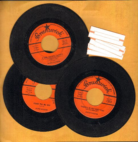Wilson, Jackie - 3-Pack of first issue 45s includes hits Please Tell Me Why, There'll Be No Next Time and A Girl Named Tamiko. Shipped in plain paper sleeves with 4 blnak juke box labels. - VG7/ - 45 rpm Records