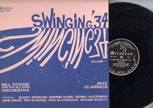 Dodge, Bill & His All-Star Orchestra - Swinging '34 Vol. 1: Junk Man, Dinah, Ol' Pappy,Basin Street Blues, Old Man Harlem (vinyl LP record, re-issue of vintage Jazz recordings) - NM9/EX8 - LP Records