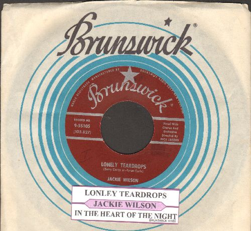 Wilson, Jackie - Lonely Teardrops/In The Blue Of Evening (maroon label first pressing with juke box label and Brunswick company sleeve) - NM9/ - 45 rpm Records