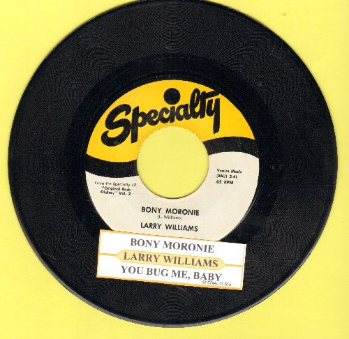 Williams, Larry - You Bug Me Baby/Bony Moronie (MINT condition authentic-looking double-hit re-issue with juke box label) - M10/ - 45 rpm Records