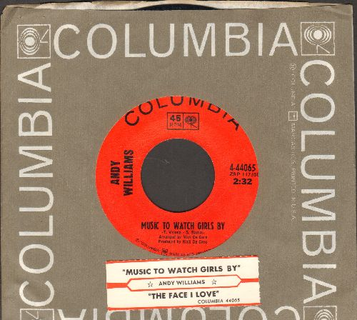 Williams, Andy - Music To Watch Girls By/The Face I Love (with juke box label and Columbia company sleeve) - NM9/ - 45 rpm Records