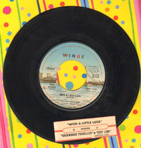 Wings - With A Little Luck/Backwards Traveller (with juke box label and Capitol company sleeve) - VG7/ - 45 rpm Records