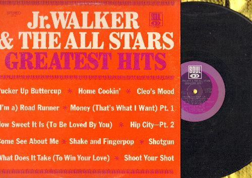 Walker, Jr. & The All Stars - Greatest Hits: Money (That's What I Want), How Sweet It Is (To Be Loved By You), Shake and Fingerpop, Shotgun, (I'm A) Road Runner, Pucker Up Buttercup (Vinyl STEREO LP record) - NM9/EX8 - LP Records