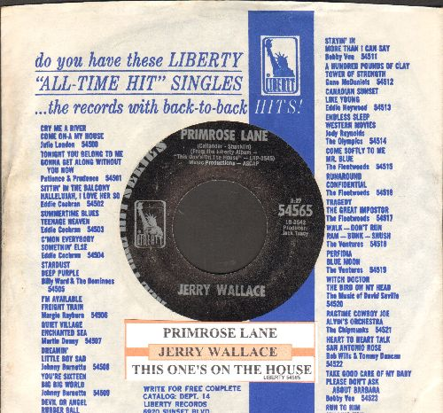 Wallace, Jerry - Primrose Lane/This One's On The House (early double-hit re-issue with juke box label and company sleeve) - NM9/ - 45 rpm Records