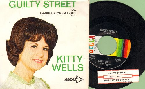 Wells, Kitty - Guilty Street/Shape Up Or Get Out (with picture sleeve and juke box label) - M10/NM9 - 45 rpm Records