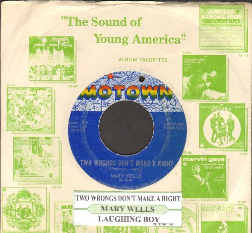 Wells, Mary - Two Wrongs Don't Make A Right/Laughing Boy (with juke box label and Motown company sleeve) (bb) - EX8/ - 45 rpm Records