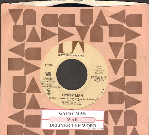 WAR - Gypsy Man/Deliver The Word (with juke box label and company sleeve) - NM9/ - 45 rpm Records