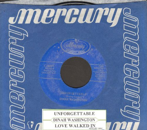 Washington, Dinah - Unforgettable/Love Walked In (double-hit re-issue with juke box label and Mercury company sleeve) - NM9/ - 45 rpm Records