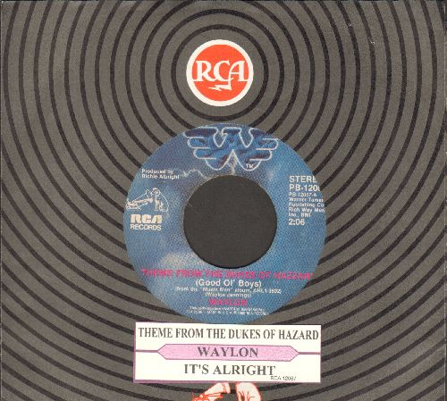 Waylon (Jennings) - Theme From The Dukes Of Hazzard (Good Ol' Boys)/It's Alright (with juke box label and RCA company sleeve) - NM9/ - 45 rpm Records