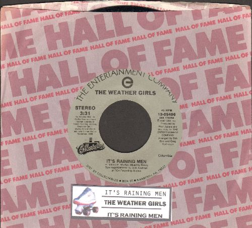 Weather Girls - It's Raining Men (PARTY FAVORITE) (featuring 2 different versions of the Novelty/Dance Hit) (re-issue with Columbia company sleeve and juke box label) - NM9/ - 45 rpm Records