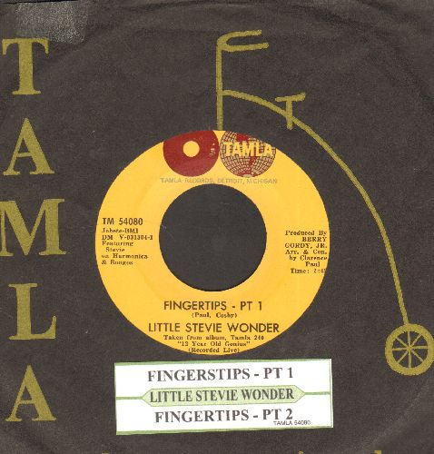 Wonder, Little Stevie - Fingertips (Parts 1+2) (2-globes early pressing with RARE Vintage Tamla company sleeve) - NM9/ - 45 rpm Records