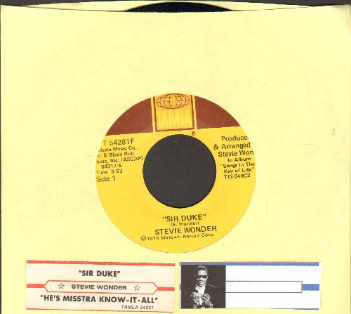 Wonder, Stevie - Sir Duke (You Can Feel It All Over)/He's Misstra Know-It All (with juke box label) - EX8/ - 45 rpm Records