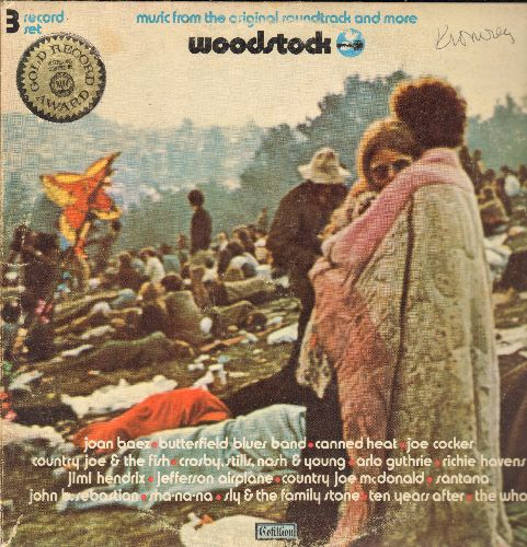 Woodstock - Woodstock -Music From The Original Soundtrack and more (3 vinyl STEREO LP record set, gate-fold cover) - EX8/VG7 - LP Records