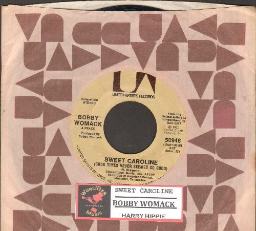 Womack, Bobby - Sweet Caroline/Harry Hippie (with juke box label and company sleeve) - NM9/ - 45 rpm Records