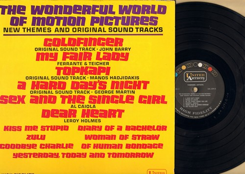 Barry, John, Al Caiola, Leroy Holmes, others - The Wonderful World Of Motion Pictures: Goldfinger, Topkapi, A Hard Day's Night, Kiss Me Stupid, Zulu, Sex And The Single Girl (Vinyl MONO LP record) - NM9/NM9 - LP Records