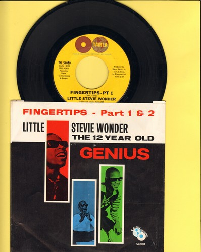 Wonder, Little Stevie - Fingertips (Parts 1+2) (2-globes early pressing with RARE picture sleeve) - EX8/NM9 - 45 rpm Records