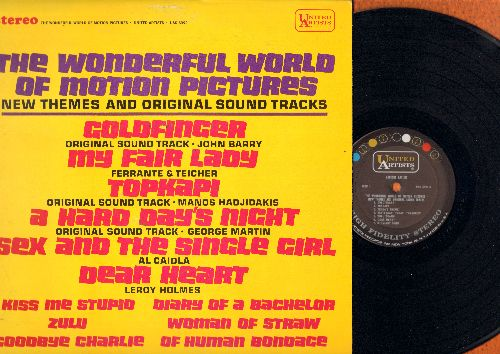 Barry, John, Al Caiola, Leroy Holmes, others - The Wonderful World Of Motion Pictures: Goldfinger, Topkapi, A Hard Day's Night, Kiss Me Stupid, Zulu, Sex And The Single Girl (Vinyl STEREO LP record) - NM9/EX8 - LP Records