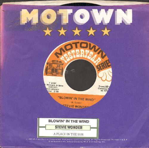 Wonder, Stevie - Blowin' In The Wind/A Place In The Sun (double-hit re-issue with juke box label and Motown company sleeve) - NM9/ - 45 rpm Records