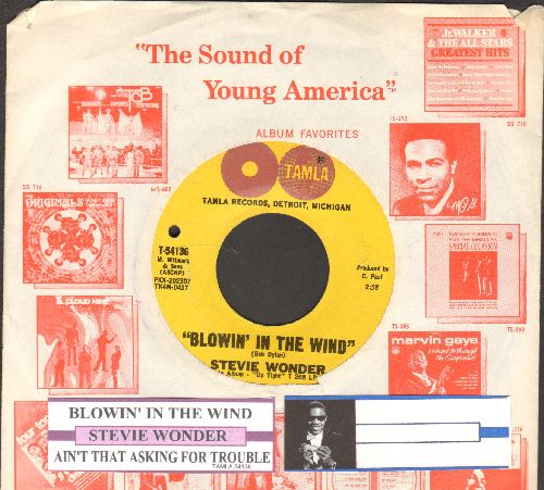 Wonder, Stevie - Blowin In The Wind/Ain't That Asking For Trouble (with juke box label and company sleeve)(bb) - NM9/ - 45 rpm Records