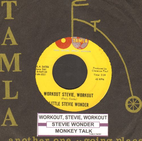 Wonder, Little Stevie - Workout Stevie, Workout/Monkey Talk (with juke box label and RARE vintage Tamla company sleeve) - NM9/ - 45 rpm Records